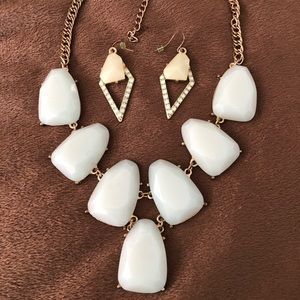 Mint Green Statement Necklace and Earring Set